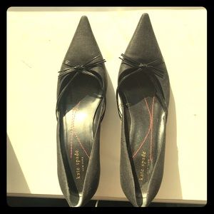 Kate Spade Black Heels with Bow Detail